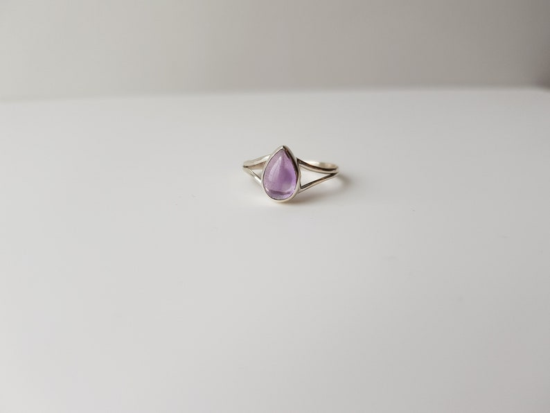 size 6.25 Vintage Silver Amethyst Pear Cut Ring amethyst jewelry amethyst promise ring amethyst engagement -february birthstone ring