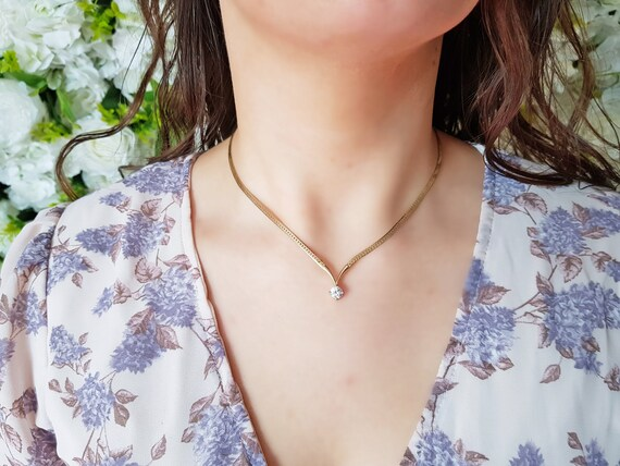 Vintage CZ Gold Plated Necklace - 80s necklace, so