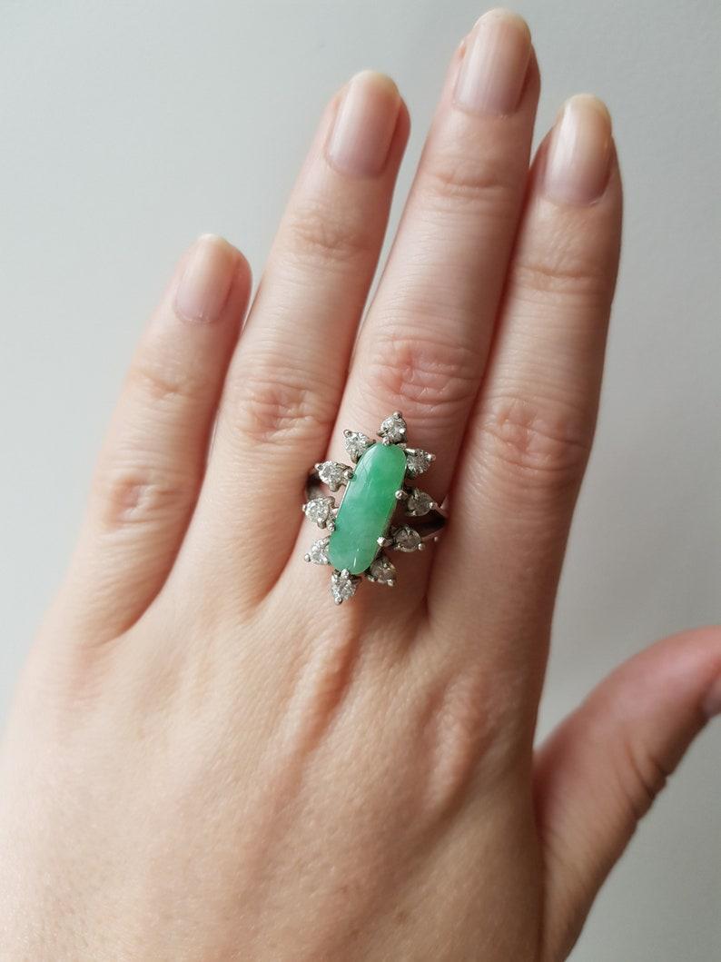 jadeite cocktail ring Vintage Jadeite and Cubic Zirconia Cocktail Ring jadeite engagement ring jadeite jewelry size 7