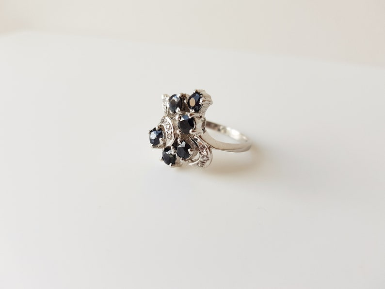 sapphire and topaz vintage cluster ring sapphire promise ring Vintage Sapphire and Topaz Cluster Ring size 6.5 statement ring