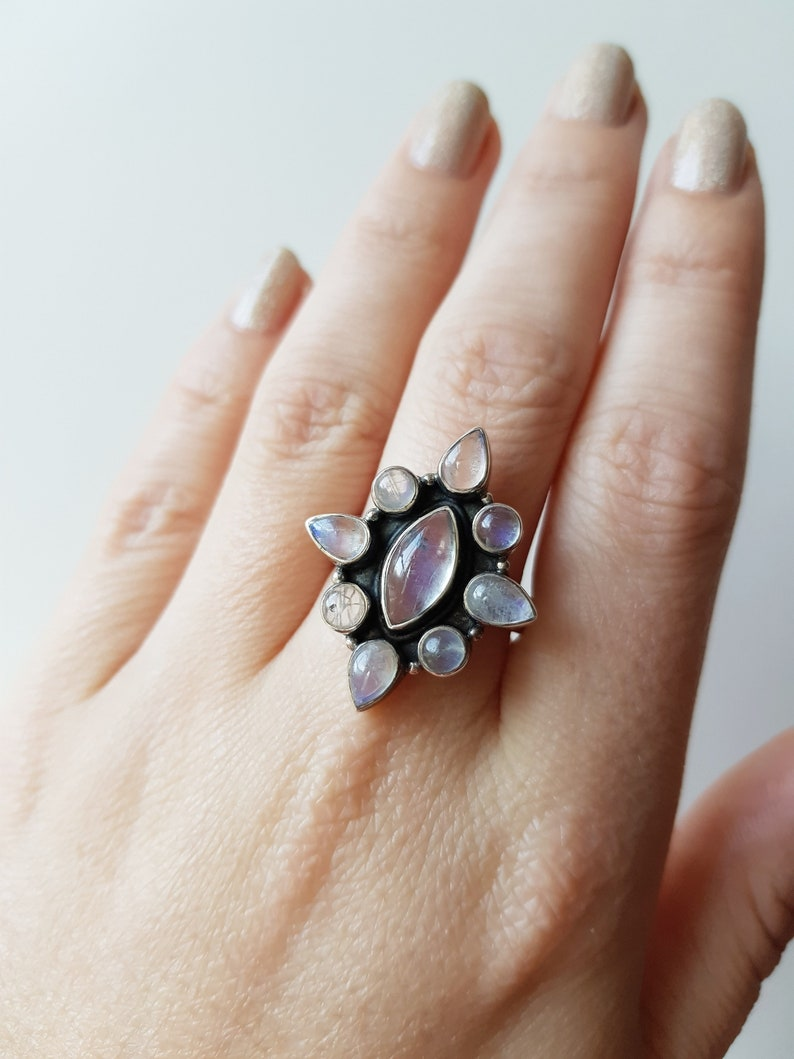 Vintage Silver Moonstone Ring statement ring size 10 moonstone jewellery vintage silver jewellery moonstone ring