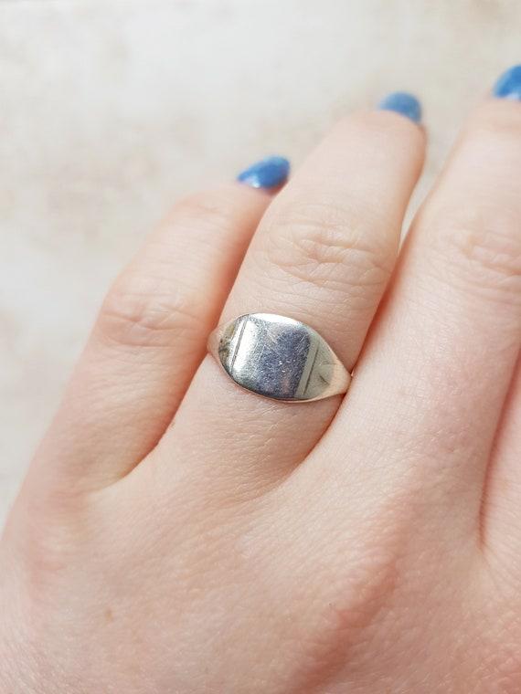 Vintage Silver Signet Ring - size N, size 6.5, vin