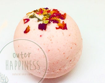 rose bath bomb, rose petals, pink bath bomb, fizzing bath bomb, red bath bomb, pink bathbomb, rose petal bath bomb, gifts under 10, kids