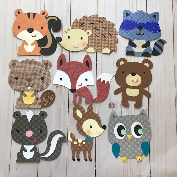 Fawn Fox favor bags Set of 6 Woodland animals die cut Skunk cutout woodlan Owl planner accessories Hedgehog diaper cake card making