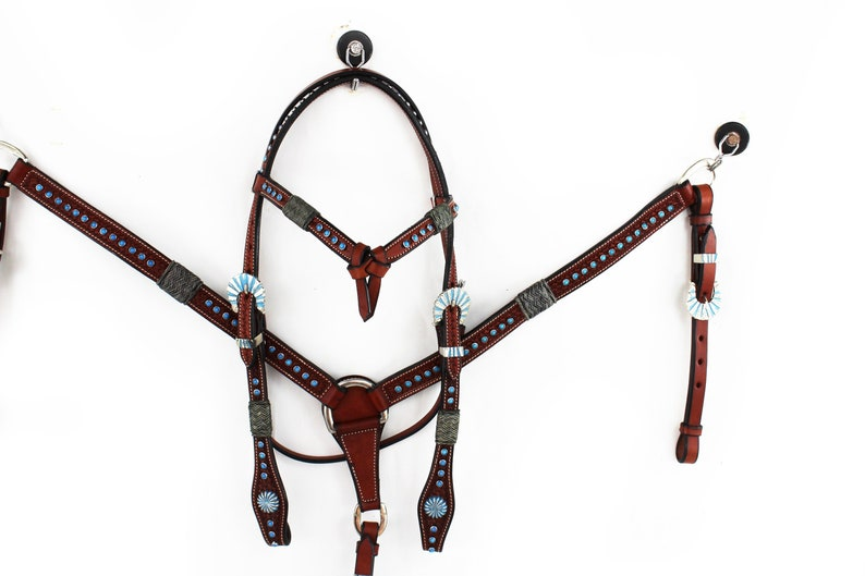 BEAUTIFUL SHOW WESTERN HORSE TACK SET TURQUOISE BLING HEADSTALL BREAST COLLAR
