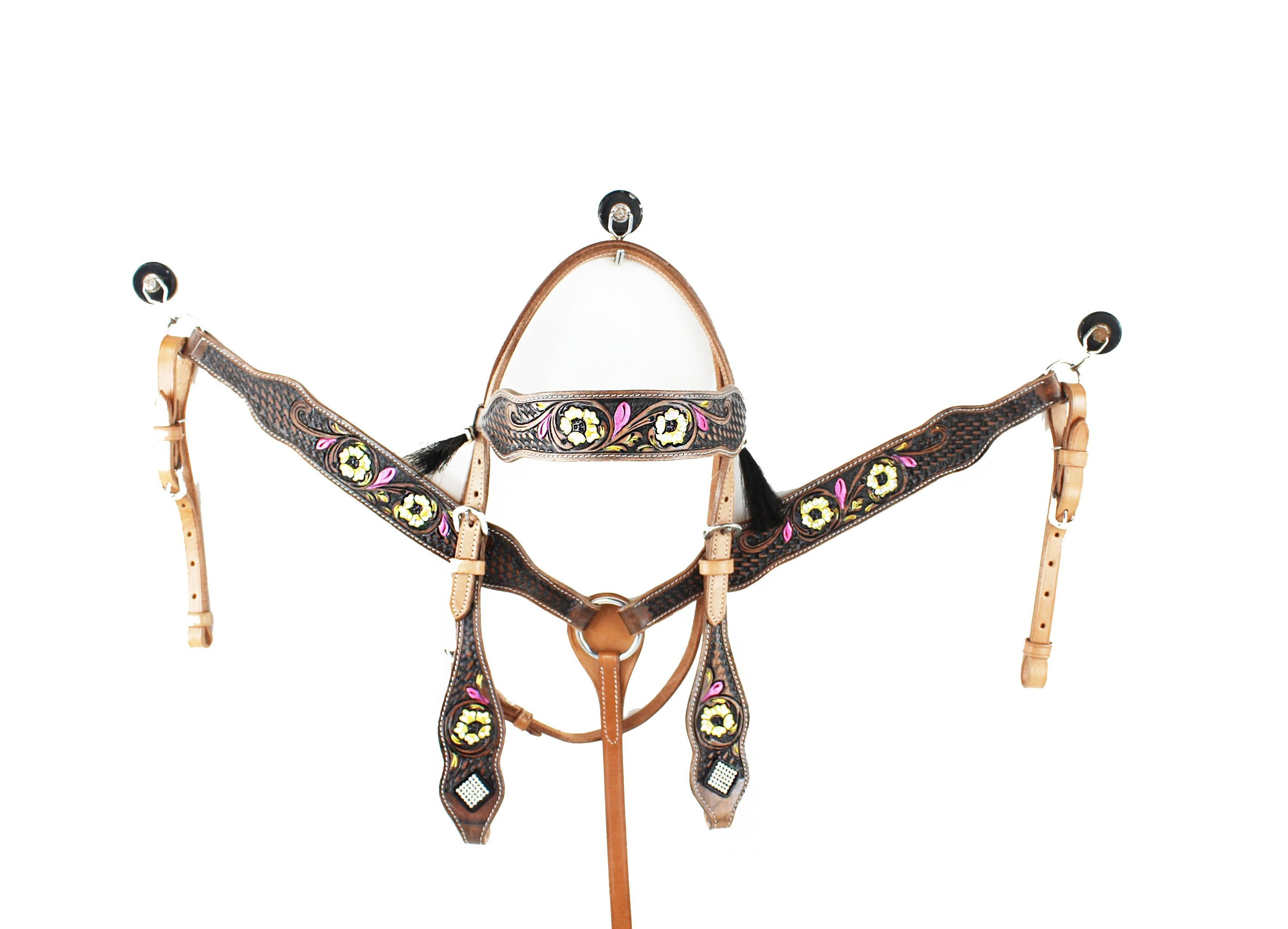 Western Headstall Bridle Reins Breast Collar Horse Leather Blue Jewels Tack Set