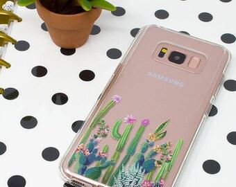 Galaxy S8 Case, Galaxy S9 Case, Galaxy S8 Plus, Cactus, Succulents, Galaxy S7, Galaxy S9 Plus, Clear Case, Shockproof, Cute Case, Garden