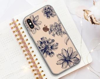 iPhone 11 Case, iPhone XR Case, iPhone 8 Plus Case, iPhone X Case, iPhone 8 Case, Rubber Case, Navy Blue, Galaxy S9 Case, Cute Flowers