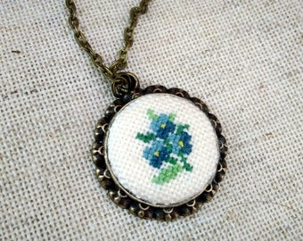 Forget-me-not pendant - cross stitch jewelry-hand embroidery - textile jewelry