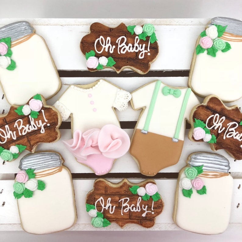 Rustic Baby Shower Cookies Gender Neutral Gender Reveal Etsy