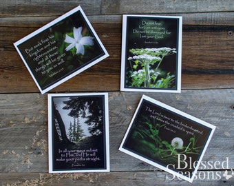 GREETING CARD SET - Inspirational Cards {Set of 4} - Encouragement Cards - Note Cards - Scripture Cards - Handmade Note Cards - Bible Verses