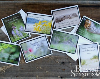 BEATITUDE GREETING CARDS - Inspirational Cards {Set of 8} - Encouragement Cards - Handmade - Scripture Cards - Bible Verses - Matthew 5