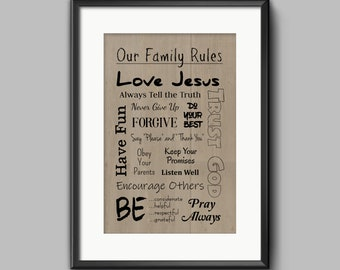 RULES WALL DECOR * Tan* Digital Download * Family Rules * Printable * Computer Print * Multiple Colors * Print at Home * High Resolution *