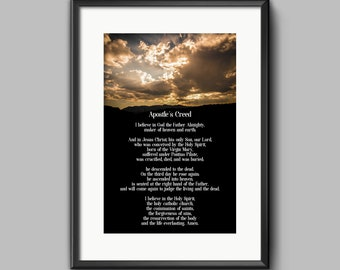APOSTLES CREED * Instant Download * Wall Poster * Decorative Art * Biblical * Christian Art * Wall Decor * Sunday School * Christianity
