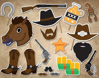 Cowboy Printable Photobooth Props, Western Photo Booth Props, Western Party Props, Wild West Party Photo Booth Props,rustic party decoration
