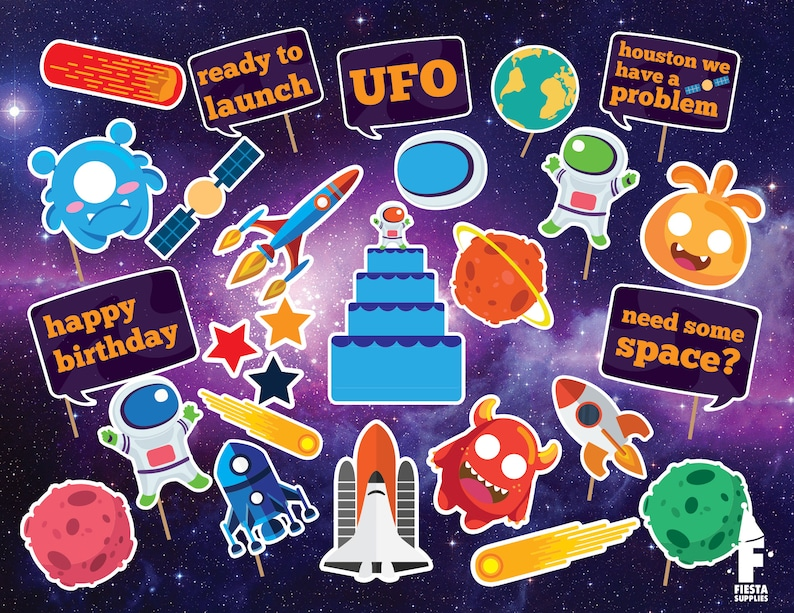 Astronaut Party, Space Party, Aliens Party, Astronaut Birthday, Photo Booth  Props, Printable PDF, Space Decoration, Outer Space Party