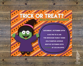 Girl Halloween Party Invitations - Kids Halloween Invitation - Halloween Birthday Invites - Costume Party Printable - Halloween Invitation