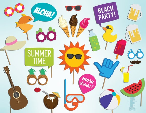 Pool Party Props Printable Summer Time Party Photo Booth Etsy
