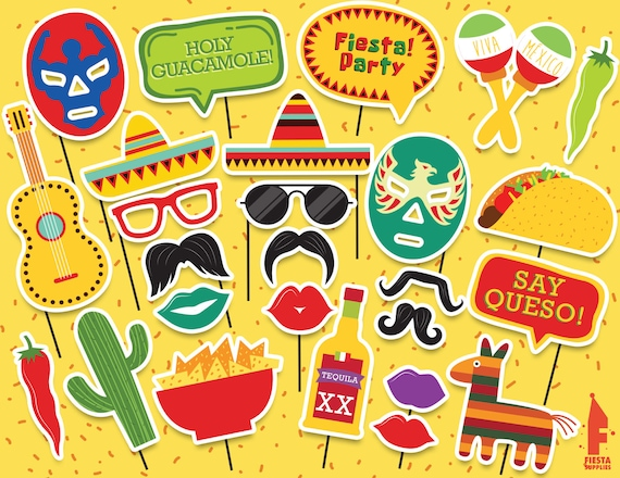 mexican party printable photobooth props mexican photo booth etsy