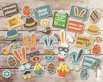 Easter Party Printable Photobooth Props - Easter Photo Booth Props - Printable easter Day Props-  easter day props party decoration