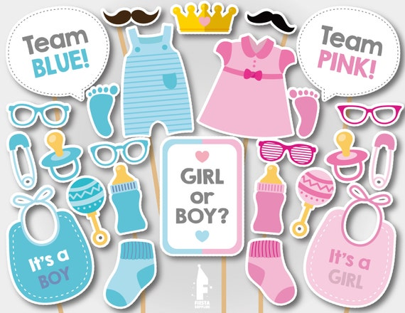 Printable Gender Reveal Photo Booth Props Gender Reveal Team Etsy