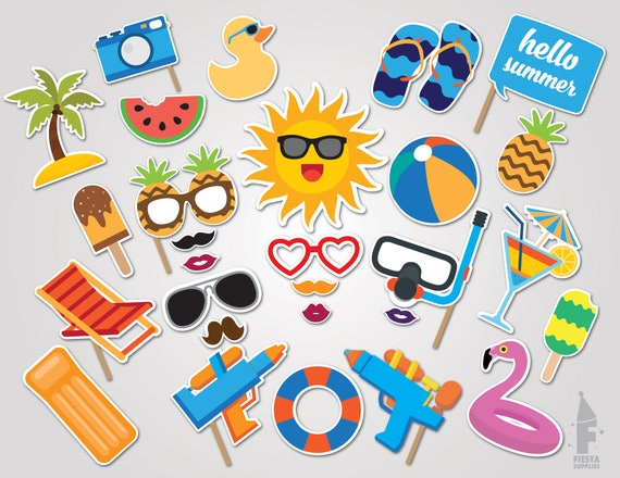 Pool Party Printable Props Etsy