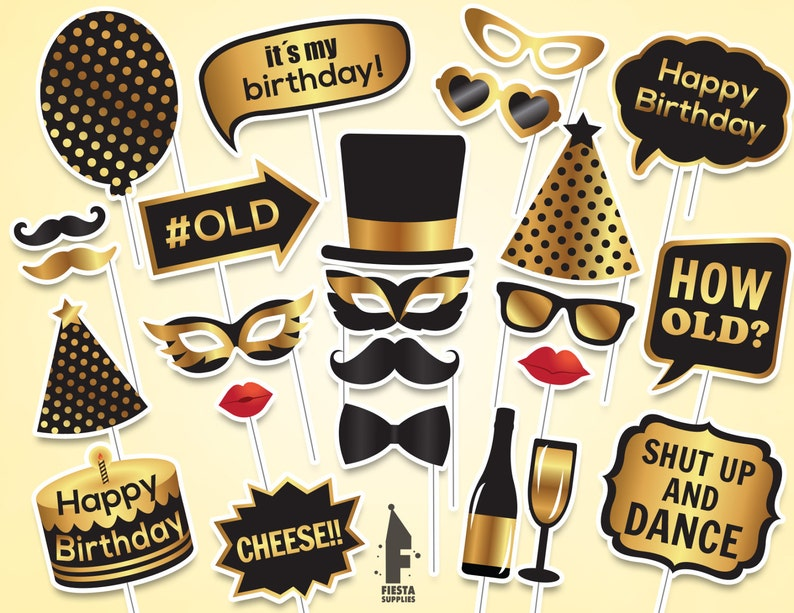 photo regarding Printable Photo Booth Props Birthday titled Birthday Printable Image Booth Props, Birthday picture booth props, printable PDF, Black and gold birthday props,Quick obtain,electronic Merely