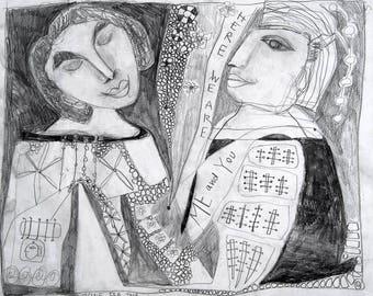 Drawing, Folk Art, Outsider Art Drawing, Love