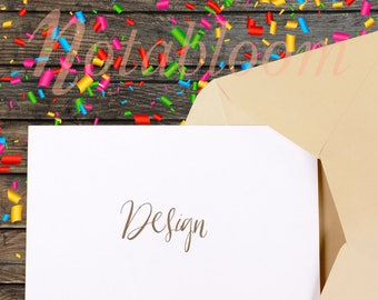 Download Free Confetti & Rustic Wood Party Invitation Mock-Up / New Year's / Birthday / Mock-Up / Styled Stock / Art Stock / Stationery / Greeting Card PSD Template