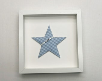 Fabric image star with name in white frame (many colours mgl.) as nursery decoration
