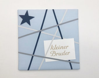 Memoboard small (30 x 30 cm) light blue with dark blue, grey and white