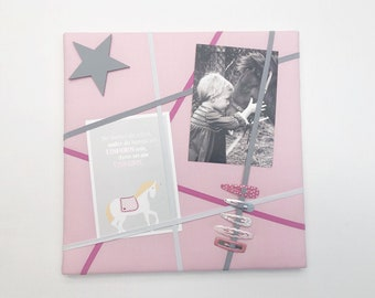 Memoboard small (30 x 30 cm) pink with grey, pink and white