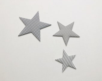Fabric stars set of 3 - (stars in many colours mgl.) as nursery decoration