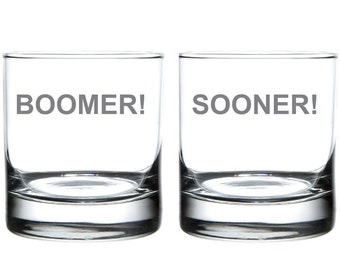 Boomer - Sooner: Oklahoma Laser Etched Glassware