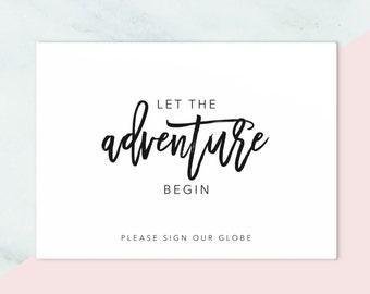 GLOBE GUESTBOOK Printable Download // Guestbook Printable // Guestbook Sign // Instant Download