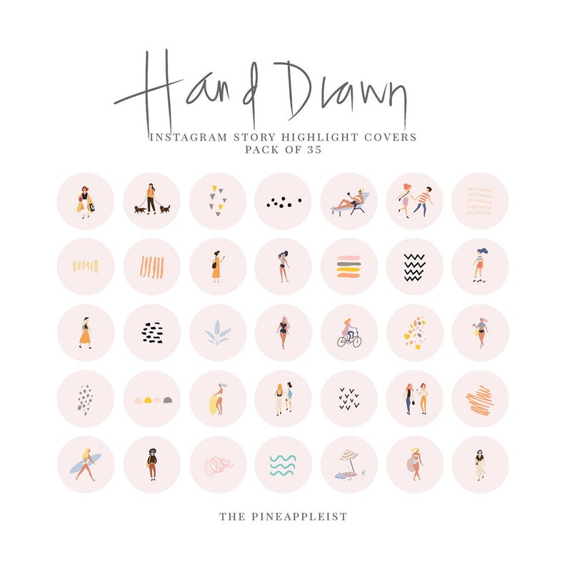 TPL // Instagram Story Highlight Icons - Hand Drawn Covers, Hand drawn  Icons, Story cover, Instagram, social media icons - Ivory, Nude Pink