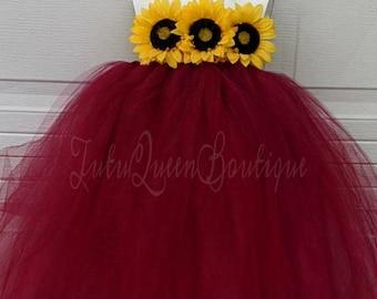 Rock n Roll Bride Adult Tutu Flower Girl Tutu Bridesmaid Tutu Burgundy Tutu Maroon Tutu Floor Length Flower Girl Dress Wedding Tutu