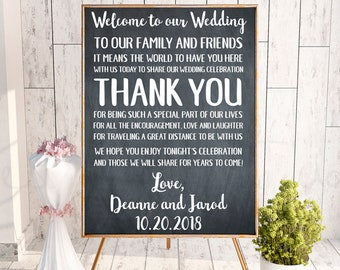 Wedding Thank You, To Our Family, To Our Friends, Thank You Wedding Sign, Wedding Signage, Wedding Printables, Reception Sign, Wedding Decor