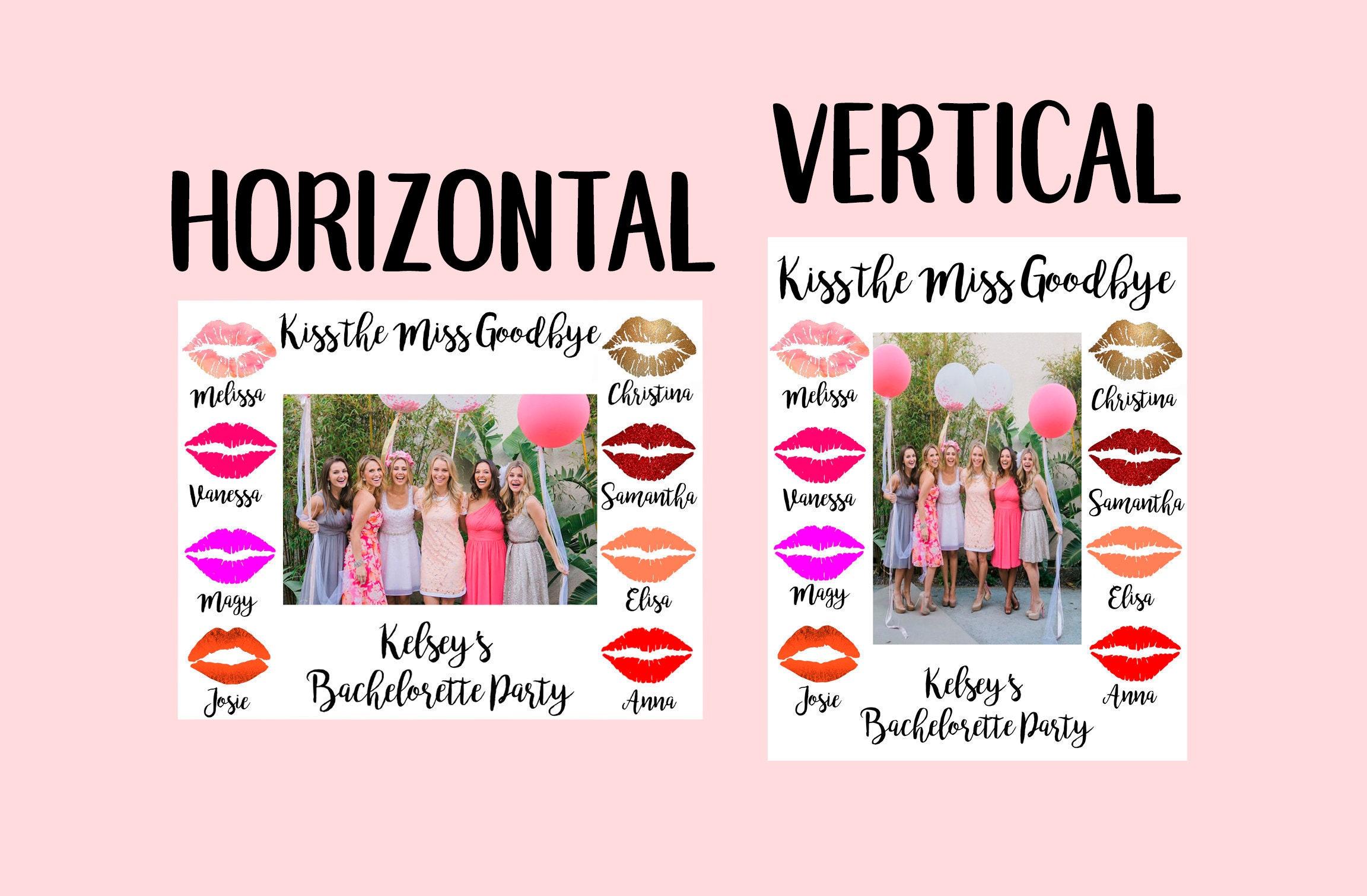 Kiss the Miss Goodbye Photo Frame Bachelorette Party Photo | Etsy