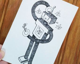 Small print - robot and flower
