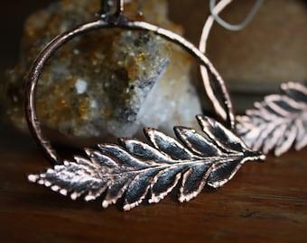 Forage//Electroformed Bakers Fern Series//Copper Fern Hoop Earrings