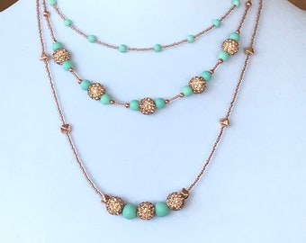 Necklace Set, Three Tier, Multi-Strand, Copper and Mint Green