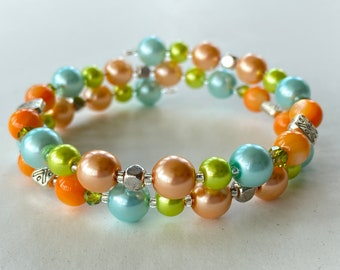 Memory Wire Bracelet, Lime Green, Light Turquoise Blue, Peach Orange, Glass Pearl Beads, Square Beads, Double Wrapped, Wrap Bracelet