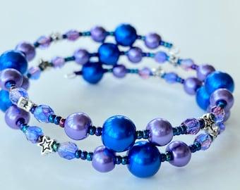Memory Wire Bracelet, Bright Blue, Violet, Stars, Glass Pearl Beads, Czech Glass Beads, Double Wrapped, Wrap Bracelet