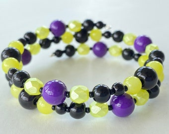 Memory Wire Bracelet, Black, Yellow, Purple, Glass Beads, Halloween, Double Wrapped, Wrap Bracelet