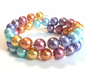 Memory Wire Bracelet, Lula Rainbow, Glass Pearl Beads, Double Wrapped