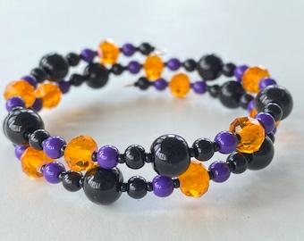 Memory Wire Bracelet, Glass Beads, Black, Orange, Purple, Halloween, Wrap Bracelet, Double Wrapped