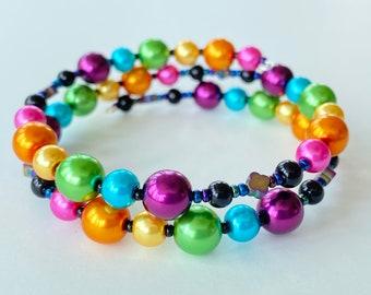Memory Wire Bracelet, Dark Rainbow, Bright Pink, Orange Gold, Yellow Gold, Medium Green, Turquoise Blue, Magenta, Double Wrapped, Hematite