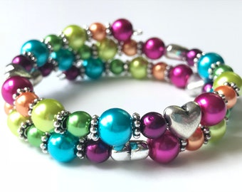 Memory Wire Bracelet, Double Wrapped, Lisa Frank Inspired Rainbow, Glass Pearl Beads