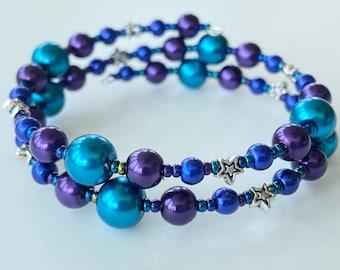 Memory Wire Bracelet, Dark Teal, Dark Purple, Royal Blue, Stars, Glass Pearl Beads, Double Wrapped, Wrap Bracelet